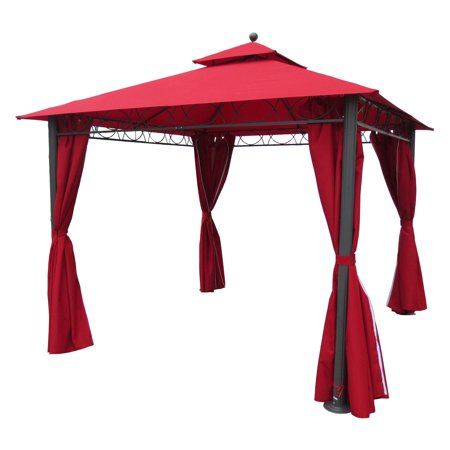 St. Kitts 10-foot Aluminum/ Polyester Double-vented and Drapes Square Gazebo
