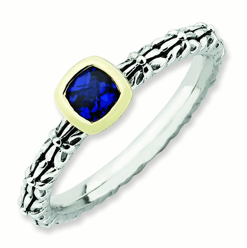 2.5mm Sterling Silver and 14k Stackable Expressions Checker-cut Created Sapphire Antiqu - 10 Inch
