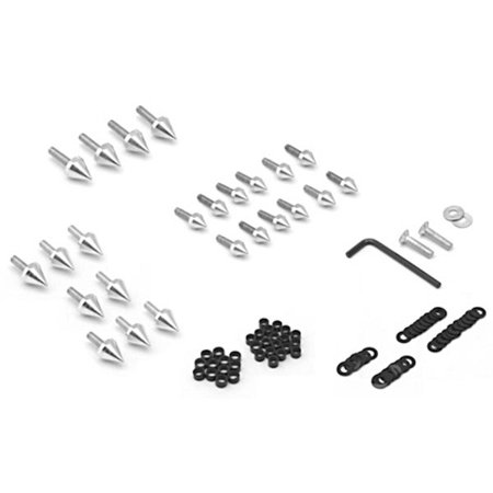 Krator Motorcycle Spike Fairing Bolts Silver Spiked Kit