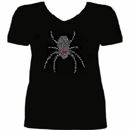 Halloween Girly Black Widow Spider Crystal Women's t Shirt ANI-066-SV - - Gingy Halloween