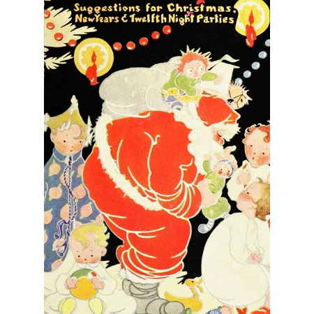 Dennisons Christmas Book 1921 Santa cover Poster Print by Unknown