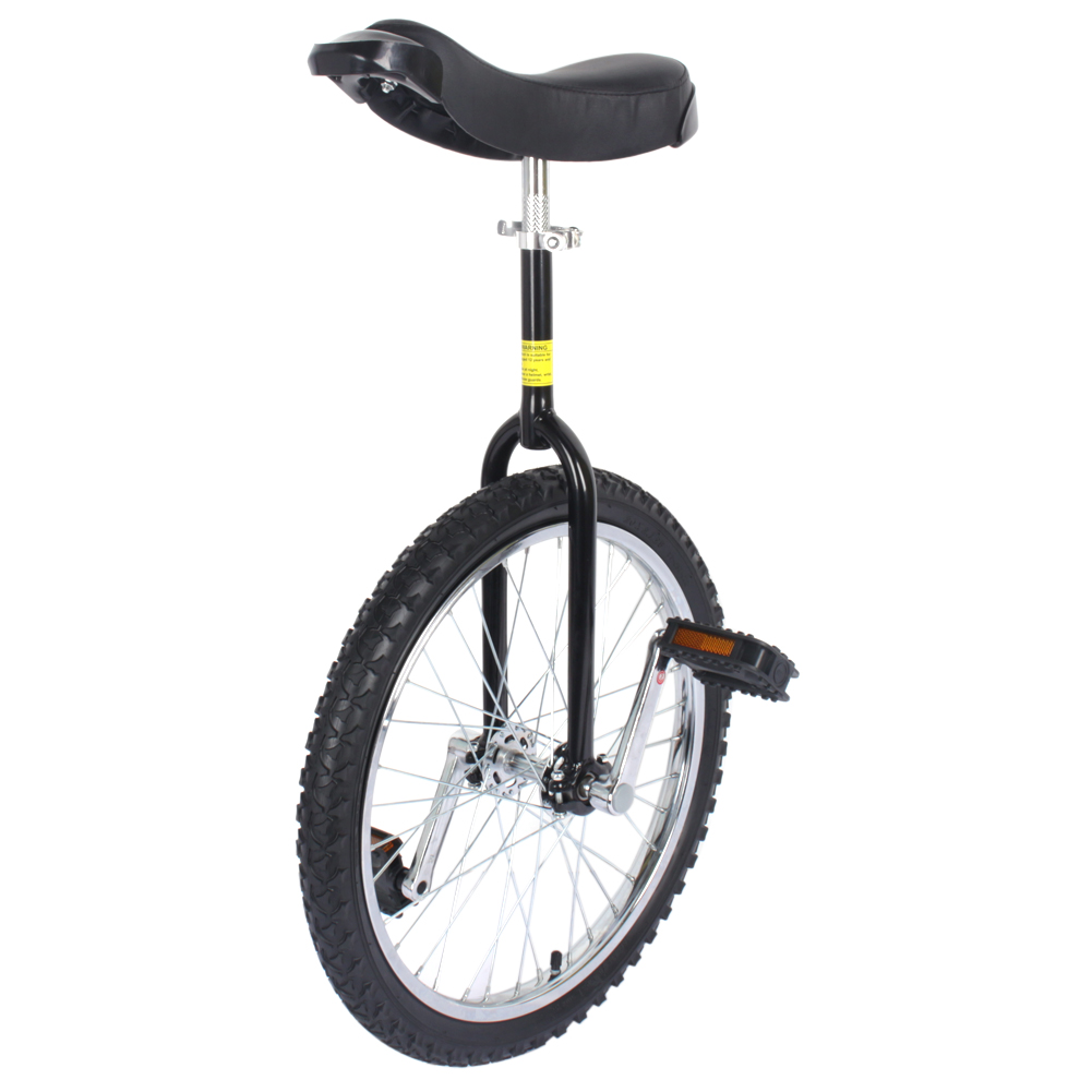 20in Black Chrome Unicycle W Free Stand Wheel Skidproof Tire Bike Unicycle Cycling