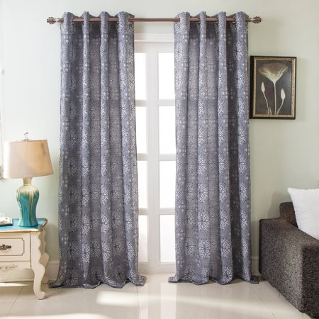 - Elsa Floral Jacquard 54 x 84 in. Grommet Single Curtain Panel, Navy