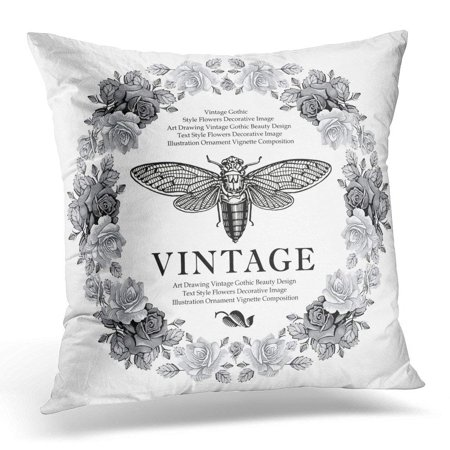 ARHOME Butterfly Cicada Fly Flowers Roses Summer Beautiful Vintage Floral Border Drawing Engraving Realistic Pillow Case Cushion Cover 16x16 Inches (Realistic Rose Border)