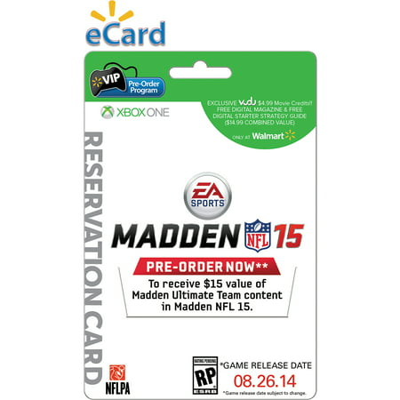 Image of Madden NFL 15 Xbox One (E-mail Delivery) Wal-Mart Exclusive Bonus* $4.99 VUDU Movie Credits