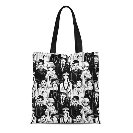 1920s Male Fashion (ASHLEIGH Canvas Tote Bag Pattern Doodle People in 1920S Man Vintage 1930S Gatsby Durable Reusable Shopping Shoulder Grocery)