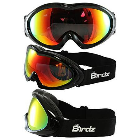 Birdz Icebird Padded Ski Goggles Black Frame Dual Vented G-Tech Reflective Lens Anti Fog Double Lens 100% Uv Protection