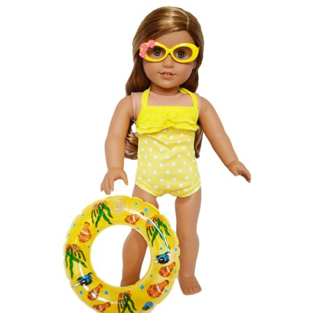 Oval Glass Doll - My Brittany's Yellow Polka Dot Swimsuit with Inflatable Swim Ring for American Girl Dolls-includes glasses- 18 inch doll clothes and accessories