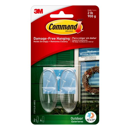 Pole 4 Leg 2 Hook - Command Outdoor Clear Window Hooks, Medium, 2 Hooks, 4 Strips/Pack