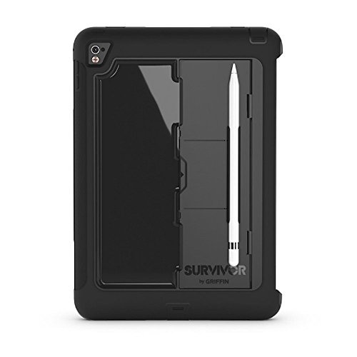 Griffin iPad Pro 9.7-inch Protective Case, Survivor Slim with Stand, Black, Slim,