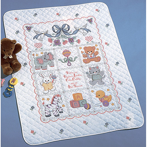 "Bucilla Babies Are Precious Crib Cover Stamped Cross Stitch Kit, 34"" x 43"""