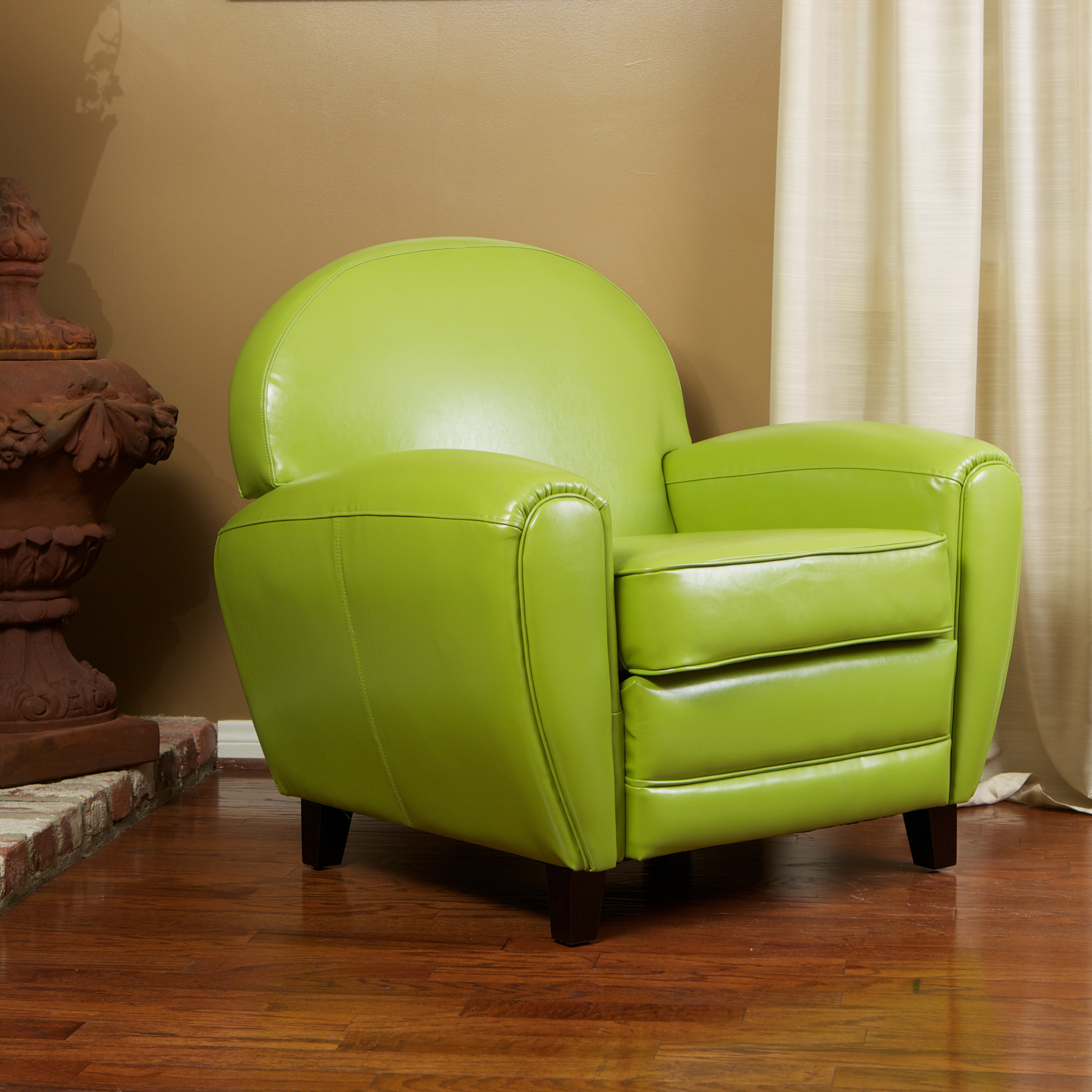 Bon Crowell Lime Green Leather Club Chair