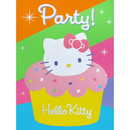 Hello Kitty Birthday Party Invitations - Hello Kitty 'Cupcake' Invitations w/ Envelopes and Thank You Postcards (8ct)