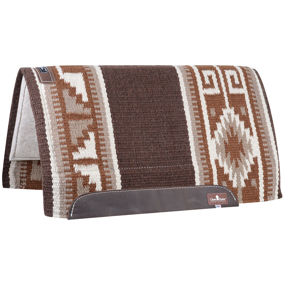 Classic Rope Company Classic Wool Top 34 x 38 Saddle Pad Chocolate/Brown  34X38 Choco/Beige/Rust