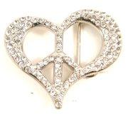 Peace and Heart Crystal Rhinestone Belt Buckle