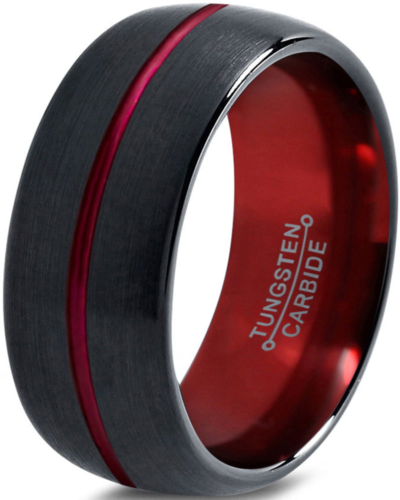 Tungsten Wedding Band Ring 10mm for Men Women Red Black Domed Brushed Polished Center Line Lifetime Guarantee by Charming Jewelers