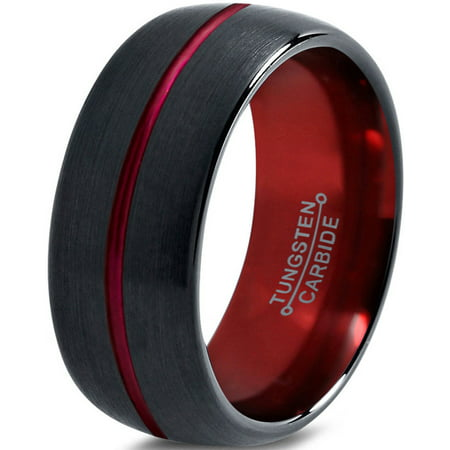 Tungsten Wedding Band Ring 10mm for Men Women Red Black Domed Brushed Polished Center Line Lifetime Guarantee](Red Wedding Ring)