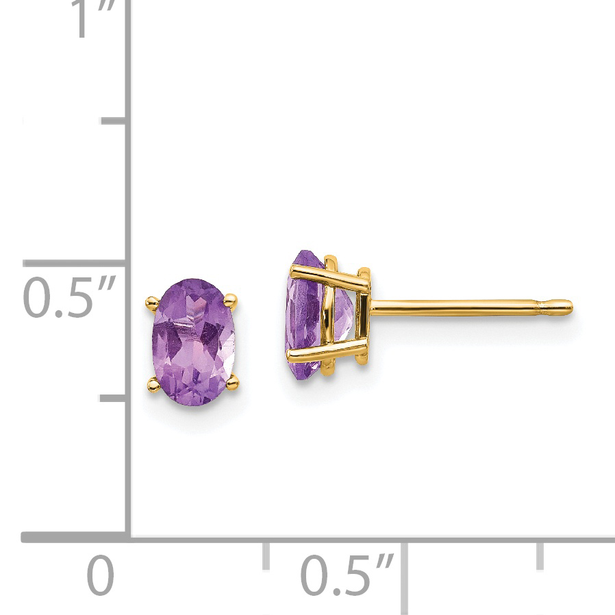 14K White Gold 3mm Round Amethyst February Stone Post Earrings