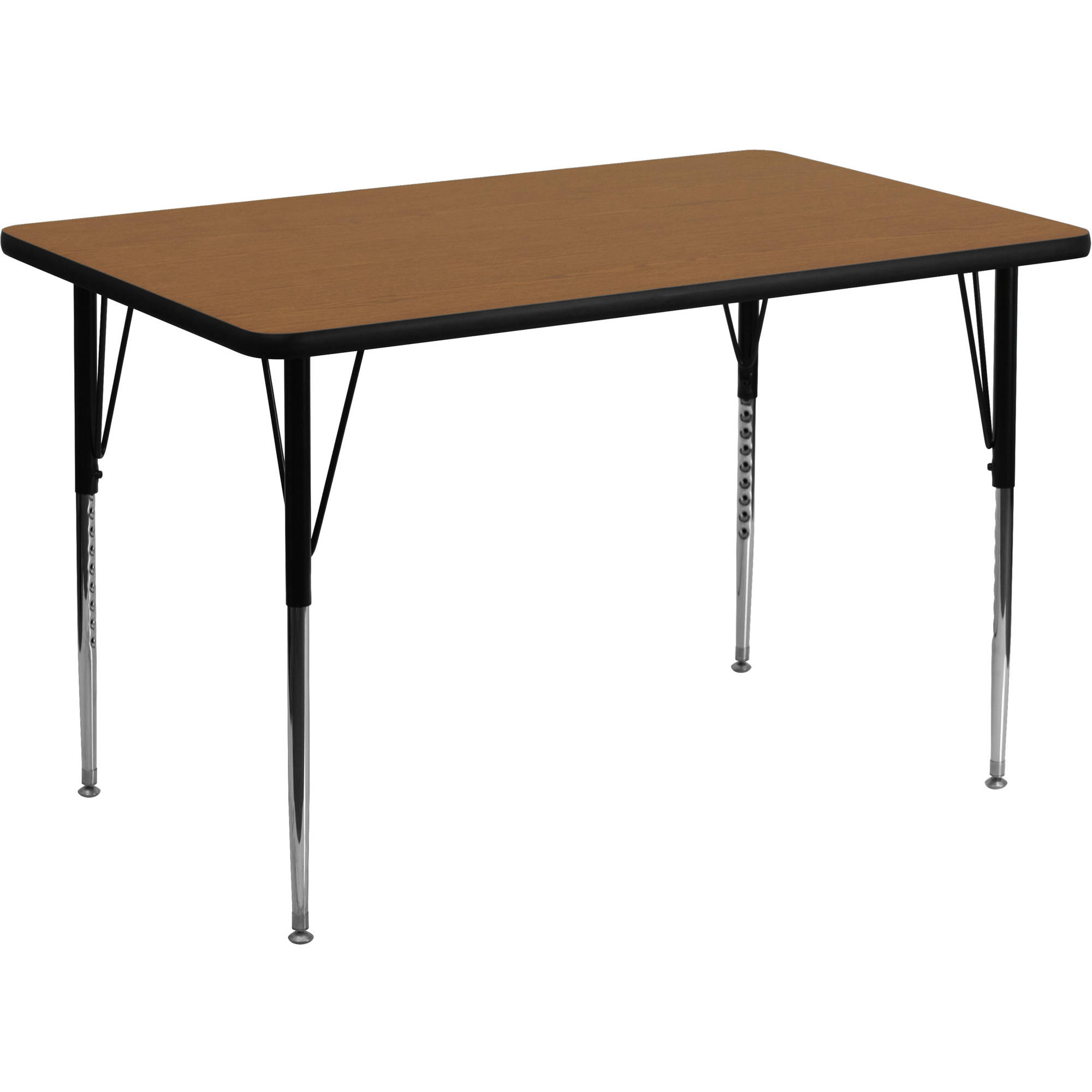 Flash Furniture 30''W x 48''L Rectangular Activity Table with Oak Thermal Fused Laminate Top and Standard Height Adjustable Legs