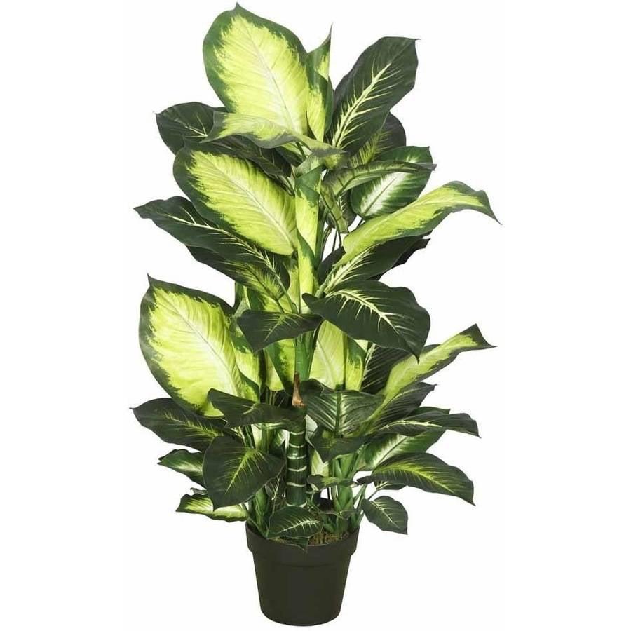 "Vickerman 40"" Artificial Green and White Dieffenbachia in a Black Planter Pot"