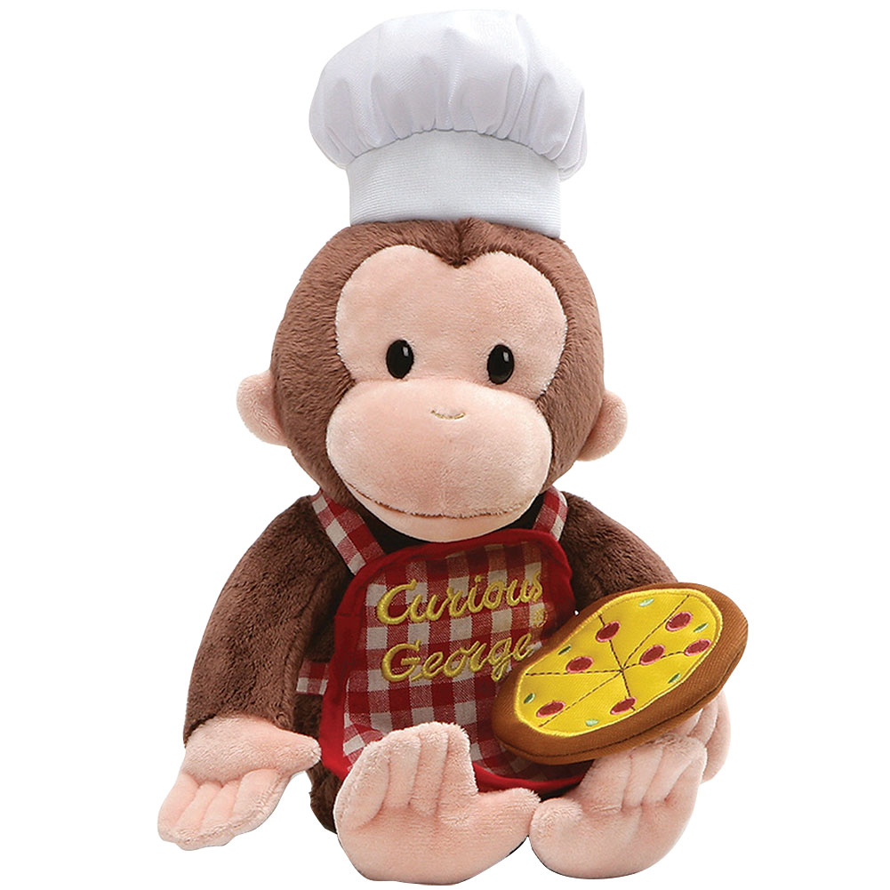 """Curious George Pizza Plush 13"""" Tall Stuffed Monkey Animal Toy w  Chef Hat by Johnson Smith Co."""