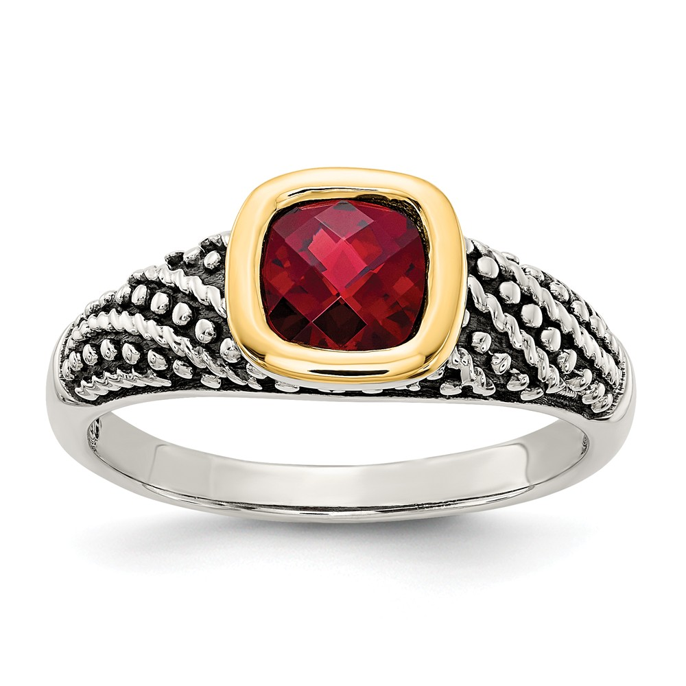 Sterling Silver With 14k Garnet Ring Ring Size: 6 to 8 by Jewelryweb