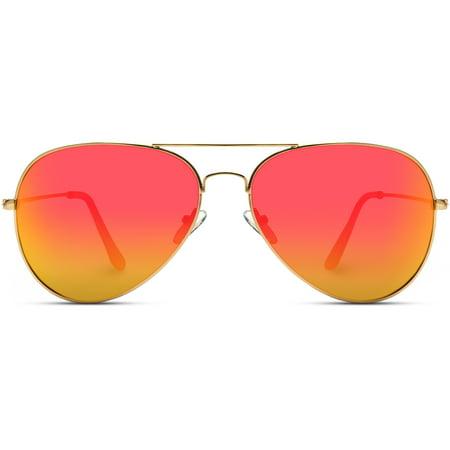 WearMe Pro - Red Mirrored Lens Metal Frame Aviator (Sunglasses Jay Z Wears)