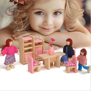 LNKOO Baby Kids Play Pretend Toy Design Wooden Doll Furniture Dollhouse Miniature Toy with 7 Pcs Family Wooden Dolls Children Gifts for Play Houses