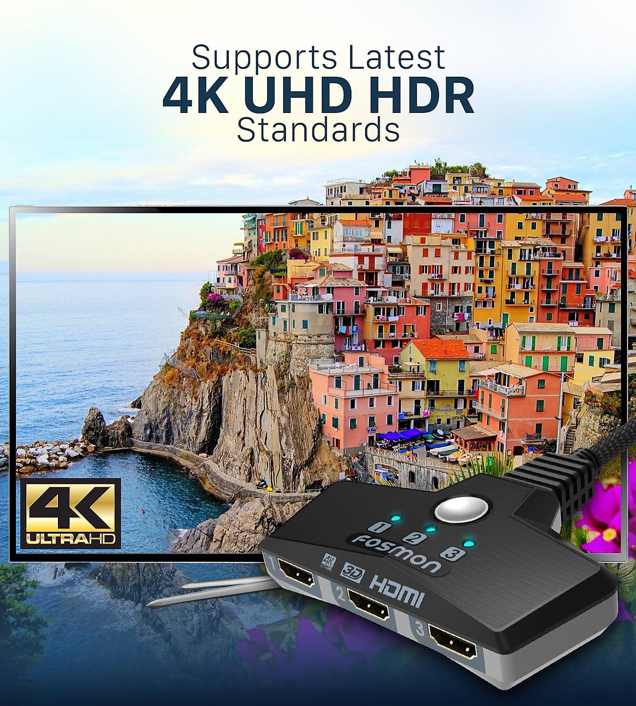 4x1 Switch HDMI Autom/ático Selector Switcher UHD HDR ARC 3D Full HD 1080p HDCP Fosmon 4-Puerto Conmutador HDMI 4K con Pip 3 entradas 1 Salida Divisor HDMI Splitter para HDTV PS4 Xbox Roku Apple TV