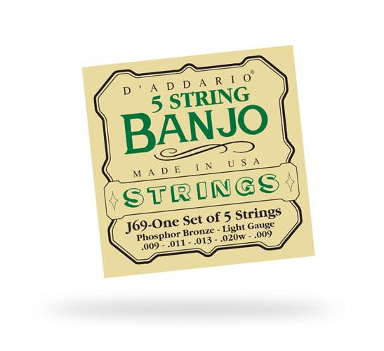 D\'Addario J69 5-String Banjo PB Light Loop Strings