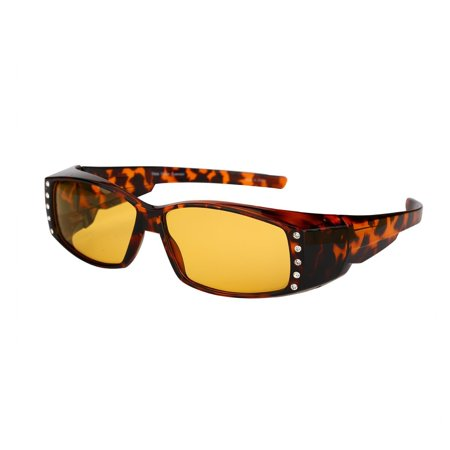 Womens Polarized Sunglasses that Fit Over your Prescription Glasses with Night Driving Lens](Halloween Contact Lens Without Prescription)