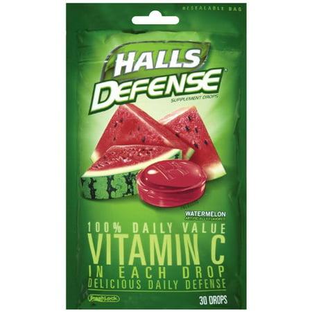 4 Pack Halls Defense Vitamin C Supplement Drops Watermelon 30 Each
