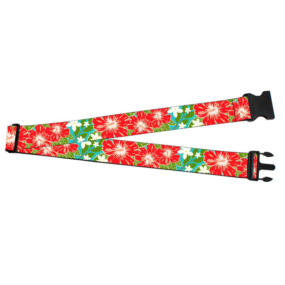 Red Hibiscus Flowers Floral Pattern Luggage Strap