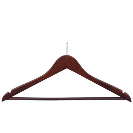 International Hanger Wooden Suit Hanger, Walnut Finish with Chrome Hardware, Box of 50
