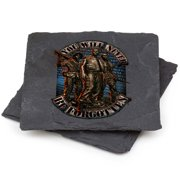 Patriotic American Heroes Natural Stone Coasters- Vietnam Soldier Never Forge (S