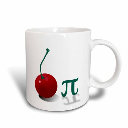 3dRose Cherry Pi. Large red cherry and the Pi symbol. mathematicians dream., Ceramic Mug, 15-ounce - Large Red Cherry