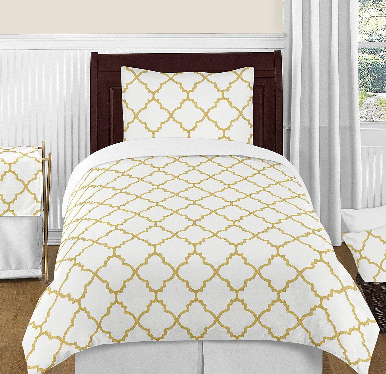 Modern White and Gold Trellis Lattice Girls 4 Piece Twin Bedding Set Collection