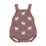 Anmino Newborn Baby Girl Clothes Cotton Baby Girl One Piece Romper with Button Snap Baby Girl Romper Outfit Jumpsuit Coffee