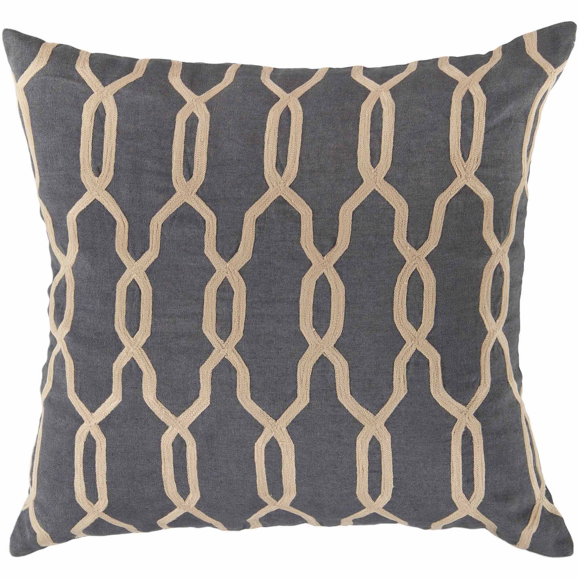 Art of Knot Amherst Hand Crafted Geometric Lattice Linen Decorative Pillow with Poly Filler, Beige