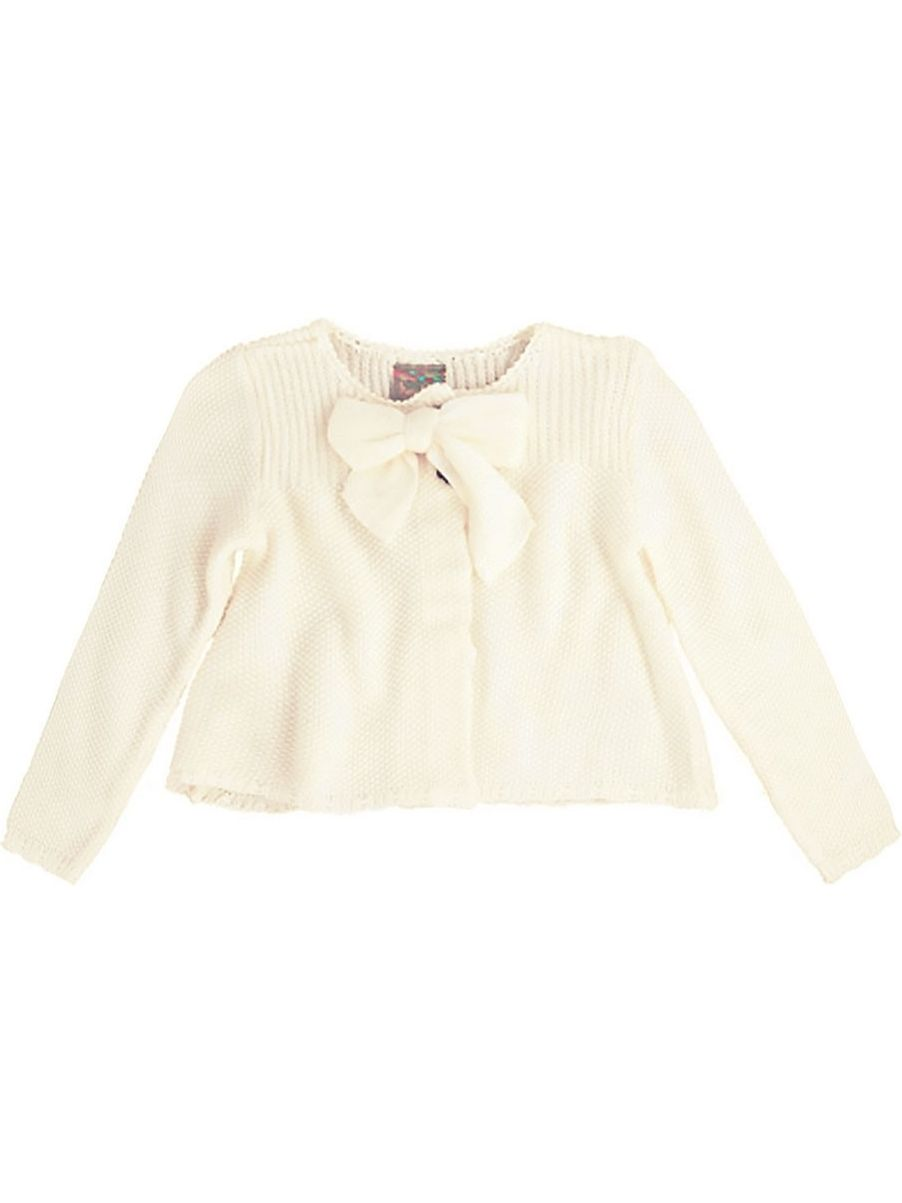 Maria Elena Little Girls Ivory Bow Accented Long Sleeved Sweater 2T