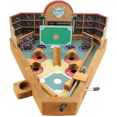 Classic Wood Pinball-Style Baseball Game