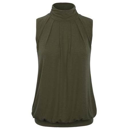 - KOGMO Womens Sleeveless Pleated Top Blouse with Waistband (S-XL)
