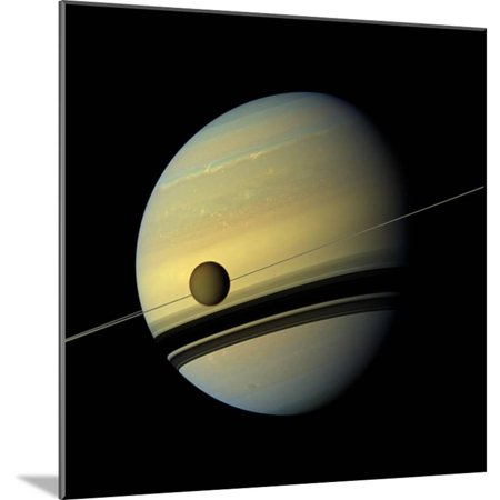 NASA: Colossus Saturn and Moon Pic Wood Mounted Poster Wall Art