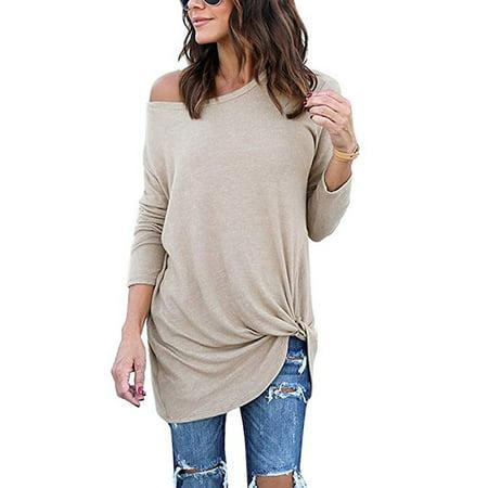 Women's Casual Soft Long Sleeves Knot Side Twist Knit Blouse (Knot Knit)