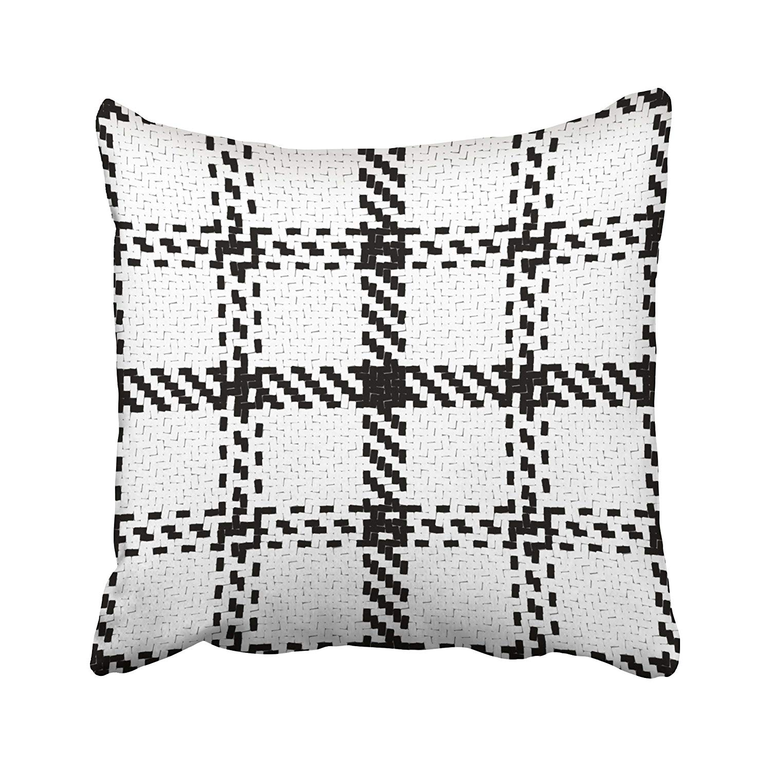 WOPOP Lumberjack Black And White Trendy Hipster Style Tartan And Buffalo Check Pillowcase Cushion Cover 16x16 inch