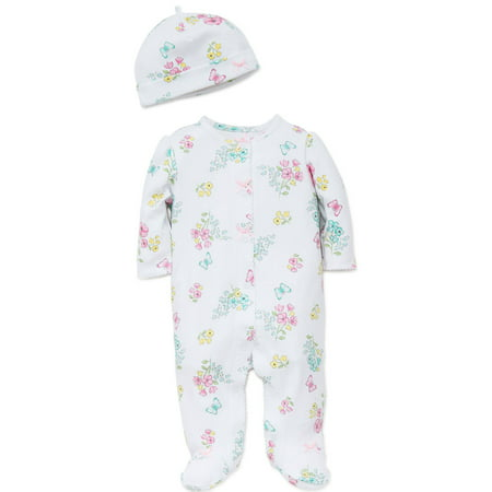 bbfde6f85a Floral Meadow Footie Pajamas For Baby Girls Sleep N Play One Piece Romper  Coverall Cotton Infant