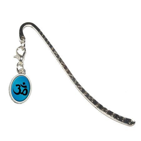 Om Aum Yoga Blue Oval Charm Metal Bookmark (Yoga Charms)
