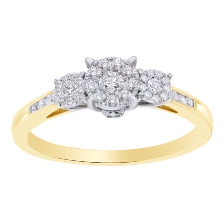 3 Cluster Diamond Ring - White Natural Diamond Cluster Three Stone Engagement Ring in 10k Yellow Gold (0.33 Cttw)