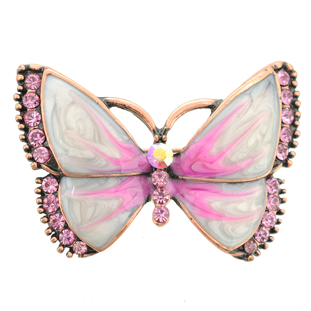 Copper Pink Marble Butterfly Brooch Pin by