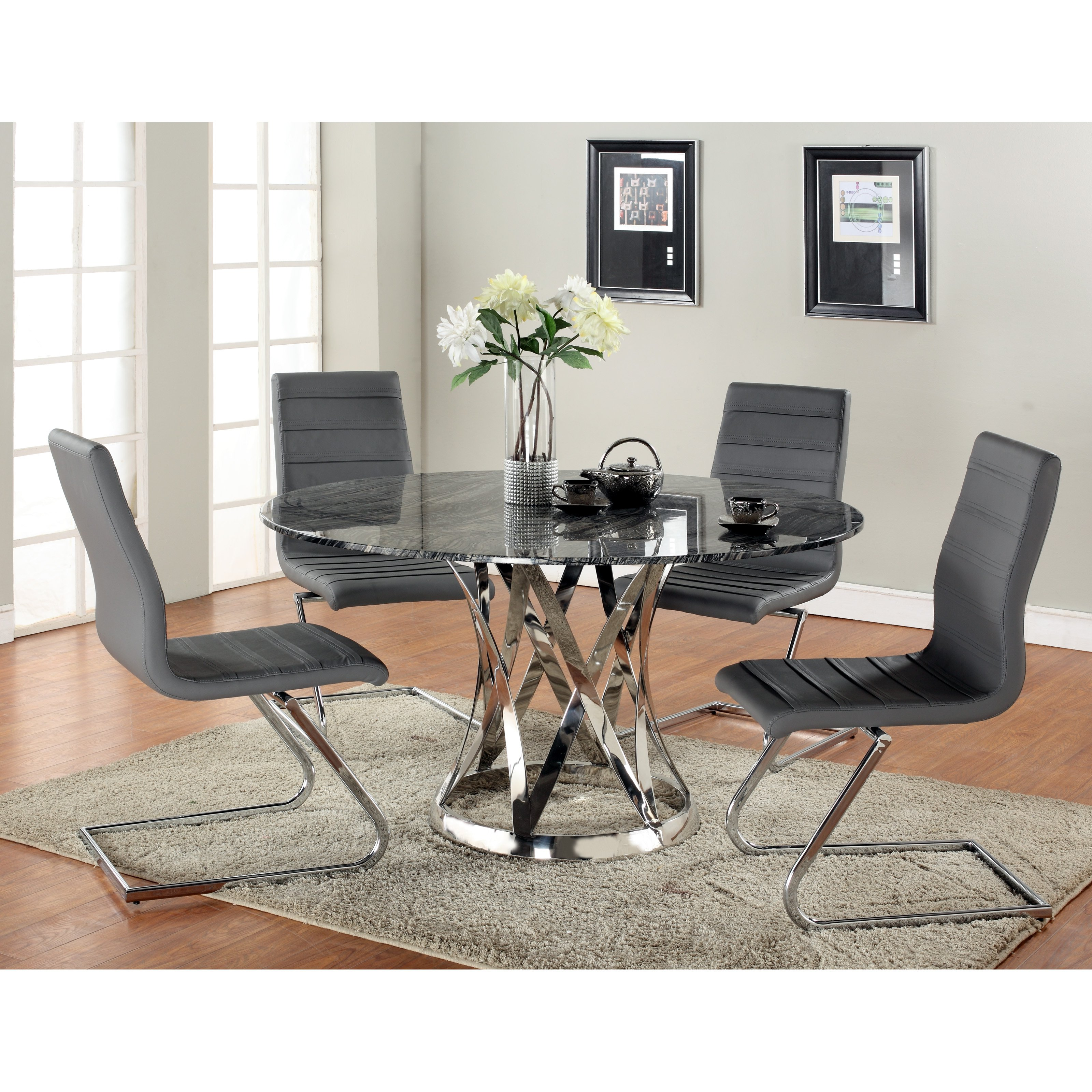 Chintaly Janet 5 Piece Dining Table Set with Marble Top